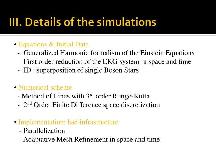 III. Details of the simulations