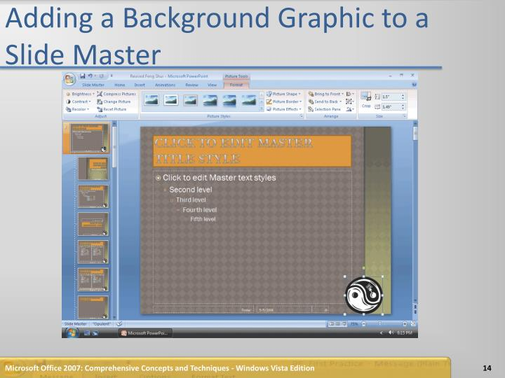 Adding a Background Graphic to a Slide Master