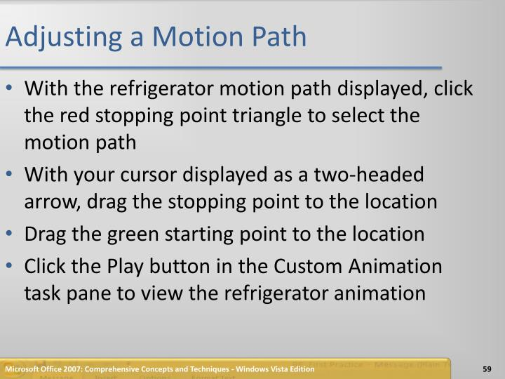 Adjusting a Motion Path