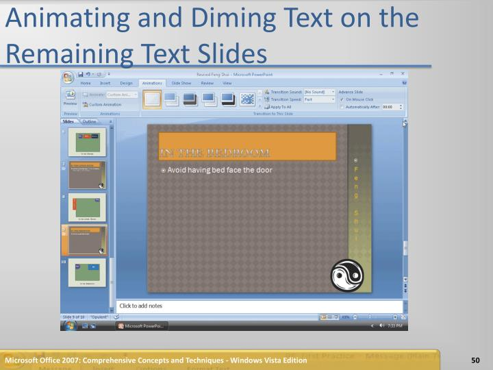 Animating and Diming Text on the Remaining Text Slides