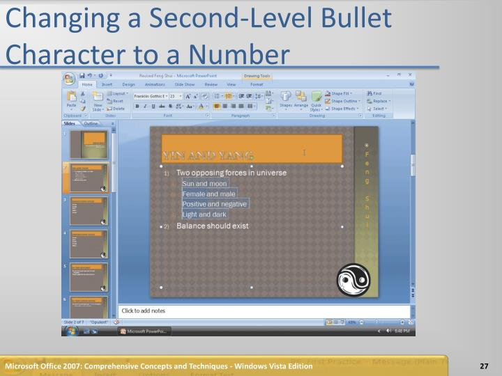 Changing a Second-Level Bullet Character to a Number