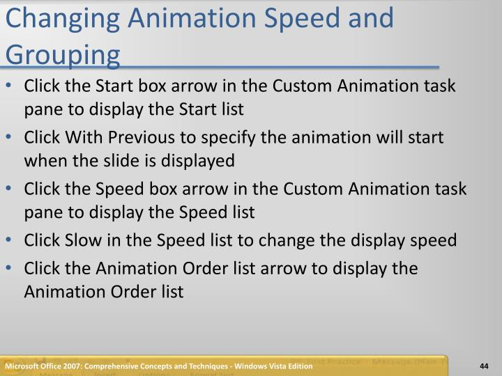 Changing Animation Speed and Grouping