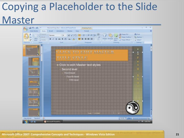 Copying a Placeholder to the Slide Master
