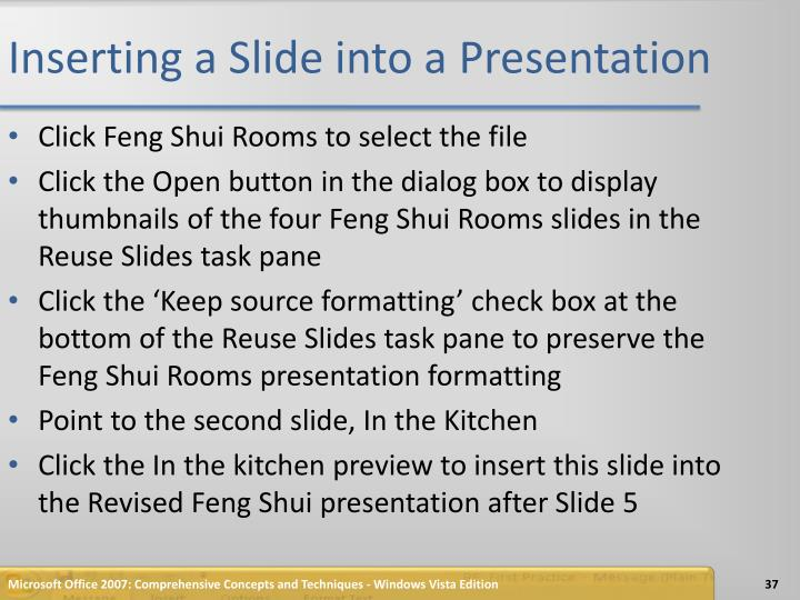 Inserting a Slide into a Presentation