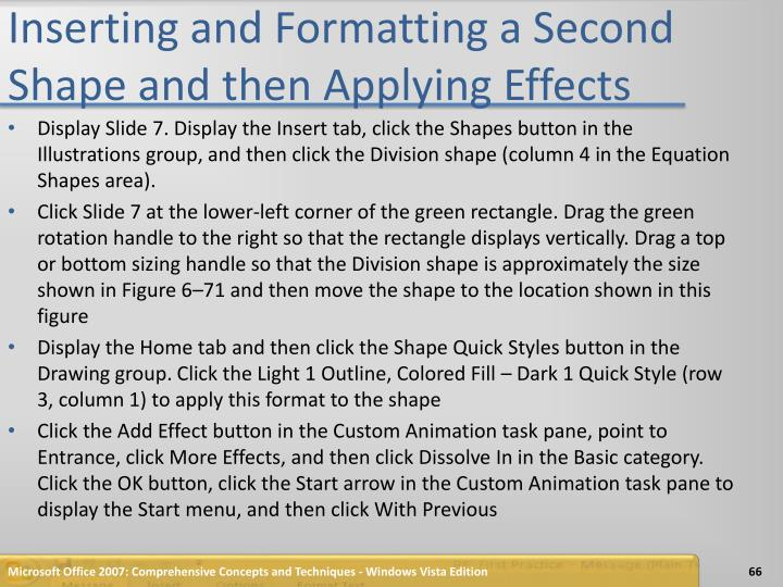 Inserting and Formatting a Second Shape and then Applying Effects