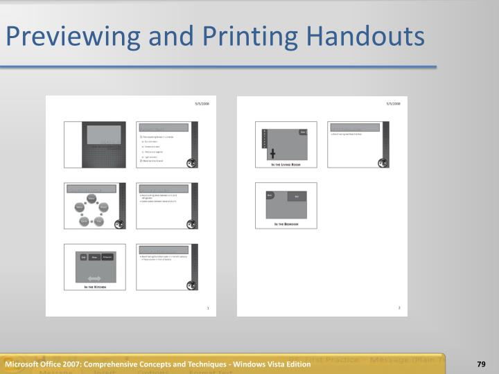 Previewing and Printing Handouts