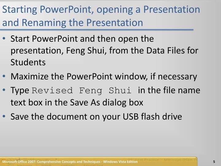 Starting PowerPoint, opening a Presentation and Renaming the Presentation