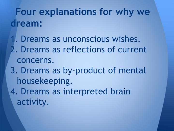 Four explanations for why we dream: