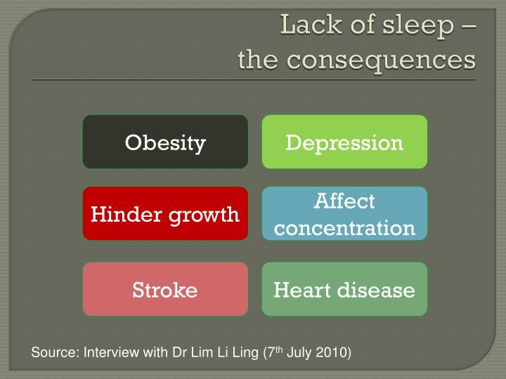 Lack of sleep –
