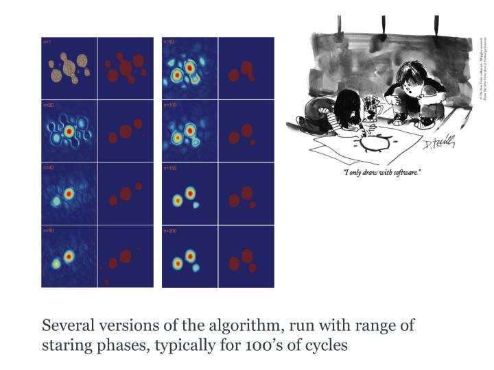 Several versions of the algorithm, run with range of staring phases, typically for 100's of cycles