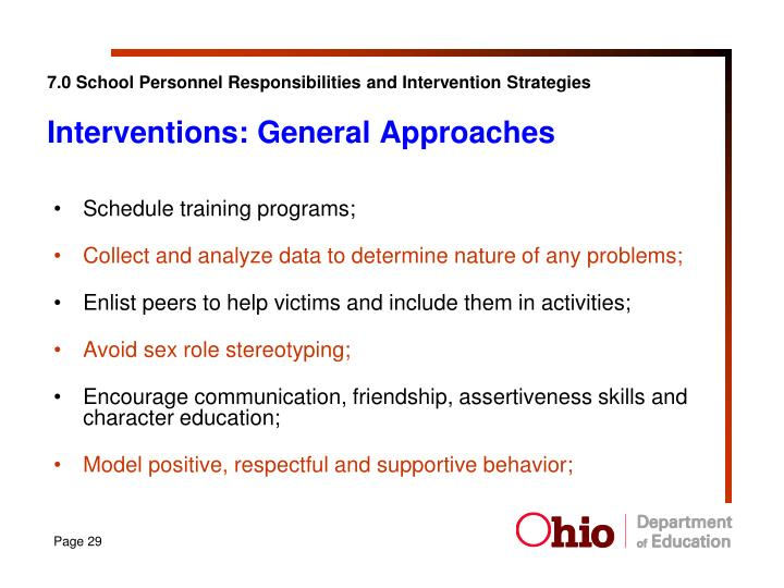 7.0 School Personnel Responsibilities and Intervention Strategies