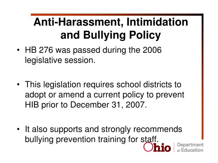 Anti-Harassment, Intimidation and Bullying Policy