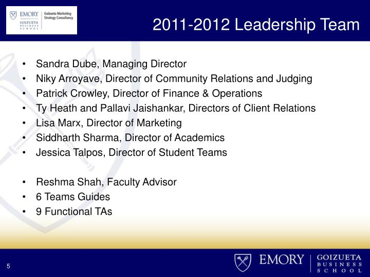 2011-2012 Leadership Team