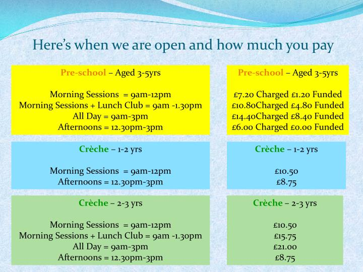 Here's when we are open and how much you pay
