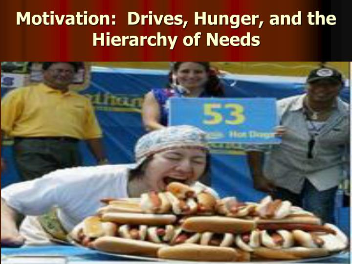 Motivation drives hunger and the hierarchy of needs