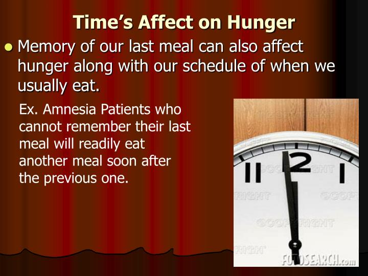 Time's Affect on Hunger