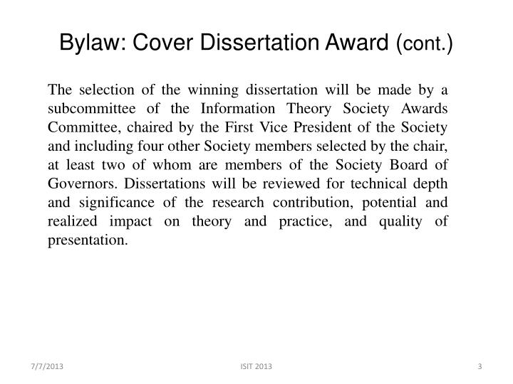 Bylaw cover dissertation award cont