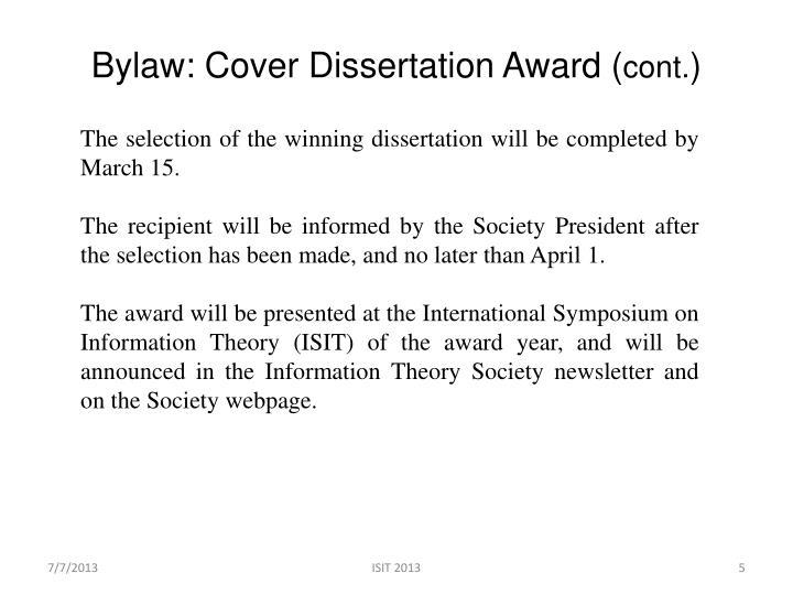 Bylaw: Cover Dissertation Award (