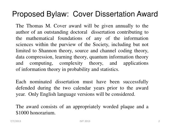 Proposed bylaw cover dissertation award