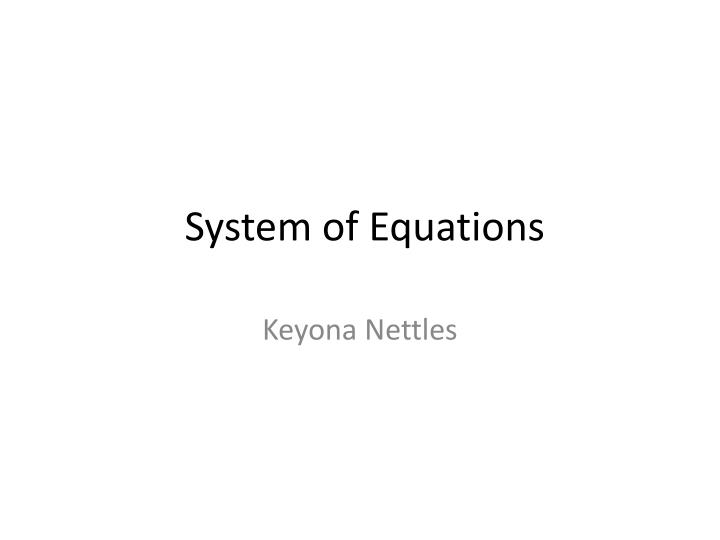 system of equations n.