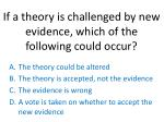 if a theory is challenged by new evidence which of the following could occur