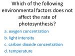 which of the following environmental factors does not affect the rate of photosynthesis