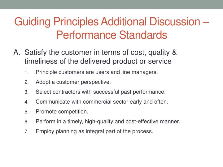 Guiding Principles Additional Discussion –Performance Standards