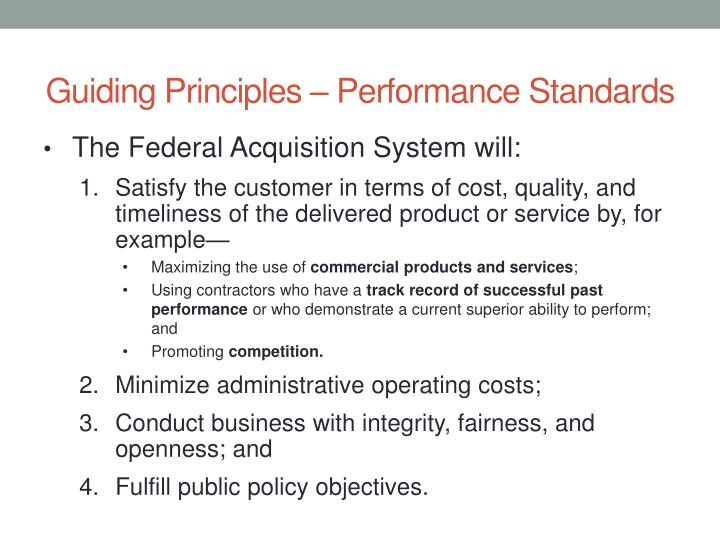 Guiding Principles – Performance Standards