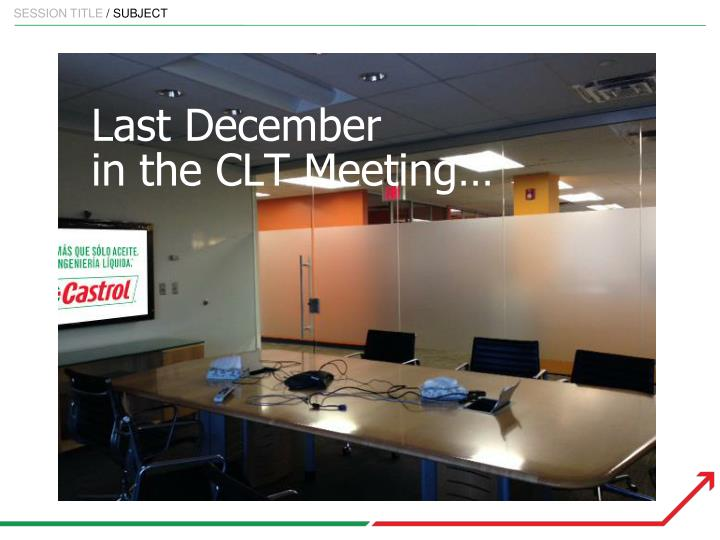 Last december in the clt meeting