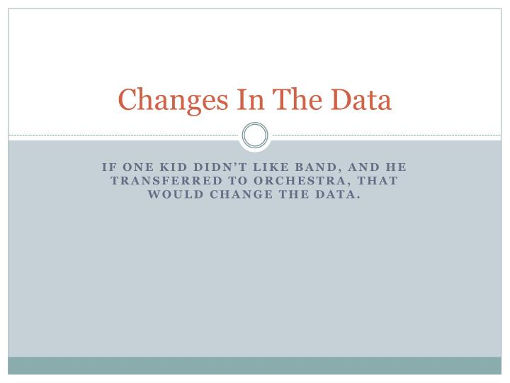 Changes In The Data