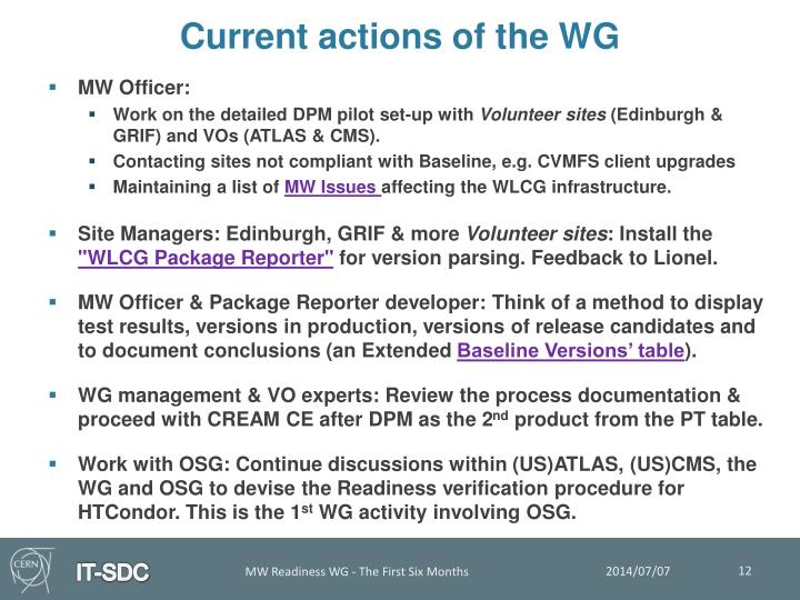 Current actions of the WG