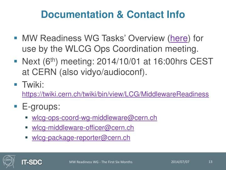 Documentation & Contact Info