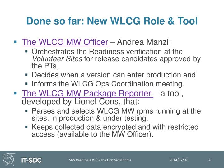 Done so far: New WLCG Role & Tool