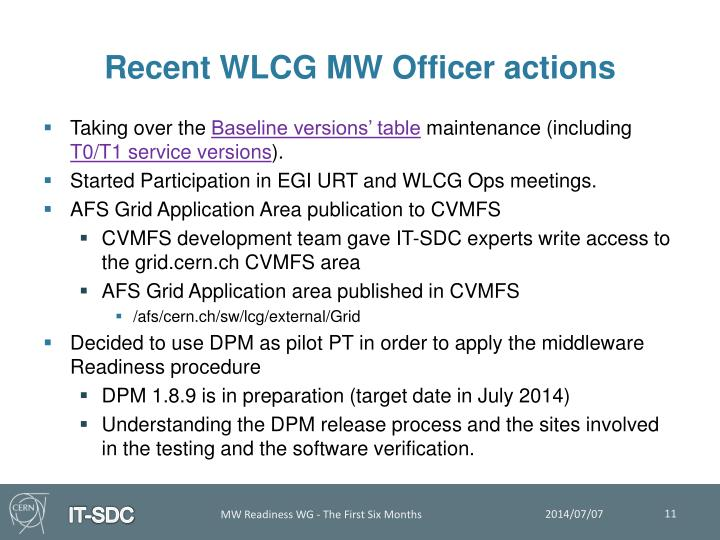 Recent WLCG MW Officer actions