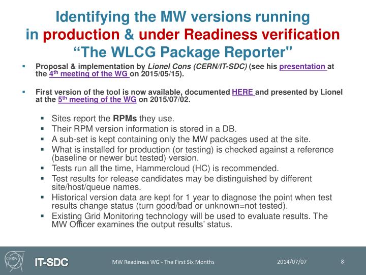 Identifying the MW versions running