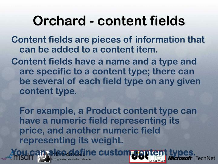 Orchard - content fields