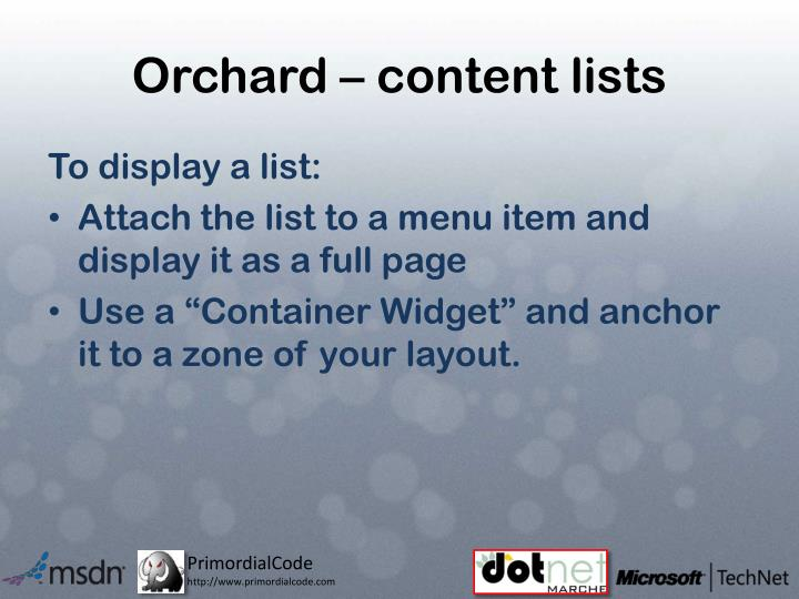 Orchard – content lists