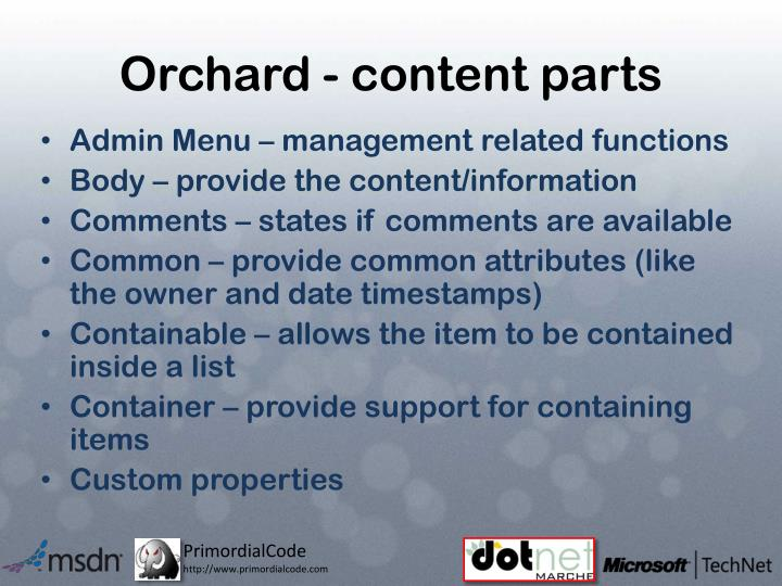 Orchard - content parts