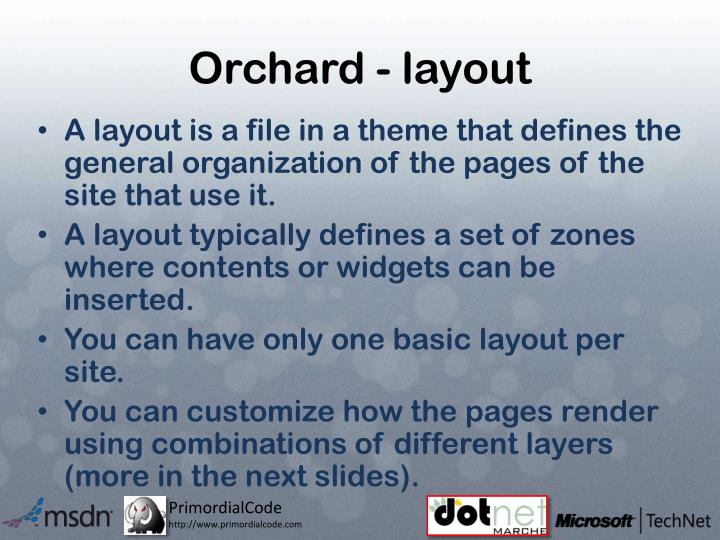 Orchard - layout