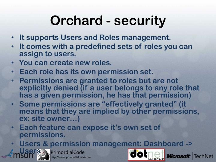 Orchard - security