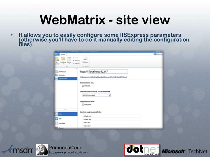 WebMatrix - site view