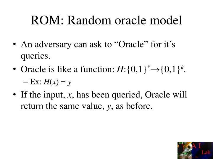 ROM: Random oracle model