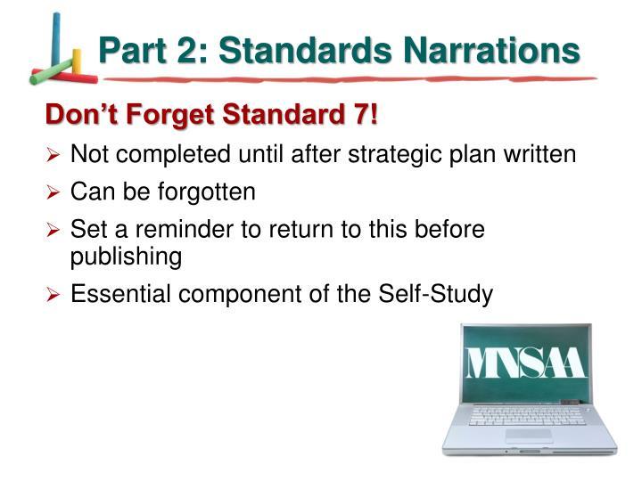 Part 2: Standards Narrations