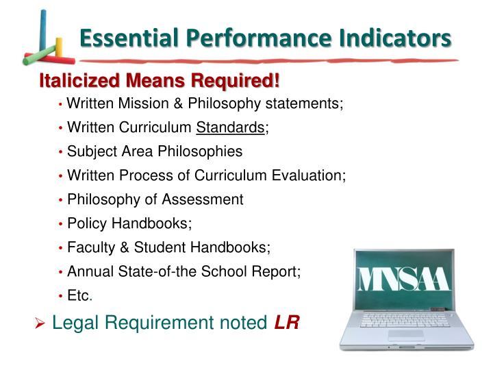 Essential Performance Indicators