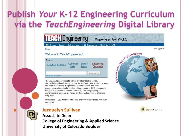 publish your k 12 engineering curriculum via the teachengineering digital library