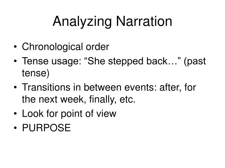 Analyzing Narration