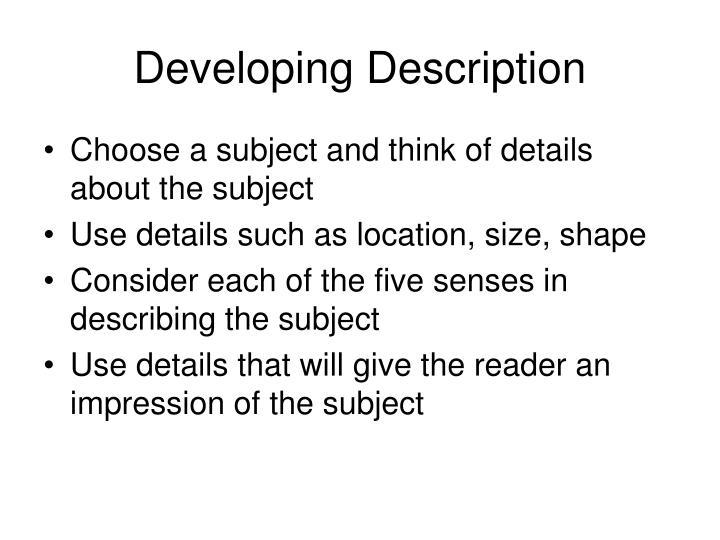Developing Description