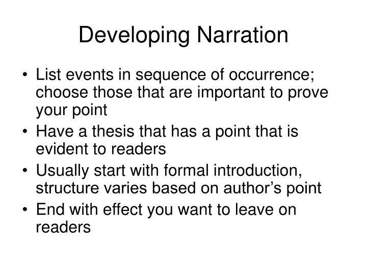 Developing Narration
