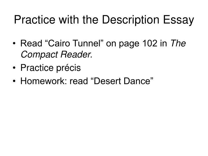 Practice with the Description Essay