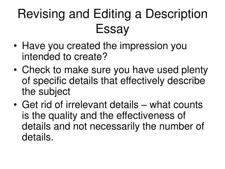 Revising and Editing a Description Essay